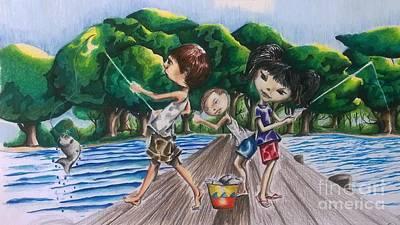 Animals Drawings - Kids Gone Fishing by Rhonda Falls