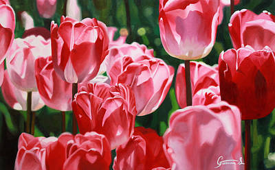 Tulips Painting - Kids In A Candy Store by Guenevere Schwien
