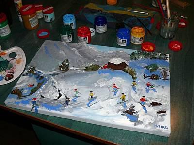 Macara Painting - Kids In Snow- Beautiful Macara Adaptation by Mirona Bentea