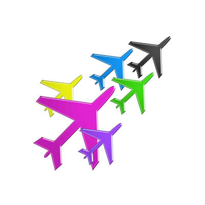 Painting - Kids Love Aeroplanes Colorful Celebration Flight by Navin Joshi