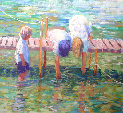 Painting - Kids On The Jetty by Jackie Simmonds