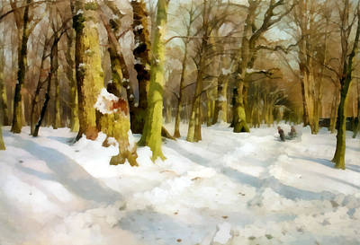 Snow Covered Trees Digital Art - Kids Playing In The Snow by Peder Mork Monsted