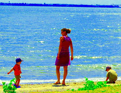 Summer Along The Canal Painting - Kids Playing On The Seashore Mom And Little Boys Pointe Claire Montreal Waterscene Carole Spandau by Carole Spandau