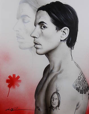 Black Hair Painting - Anthony Kiedis - ' Kiedis Apache Soul ' by Christian Chapman Art