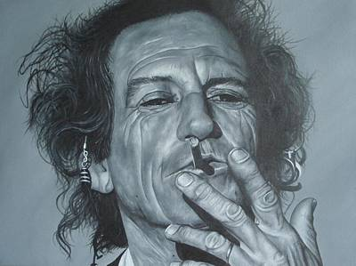 Rolling Stones Wall Art - Painting - Keith Richards by David Dunne