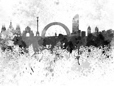 Kiev Skyline In Black Watercolor On White Background Art Print by Pablo Romero