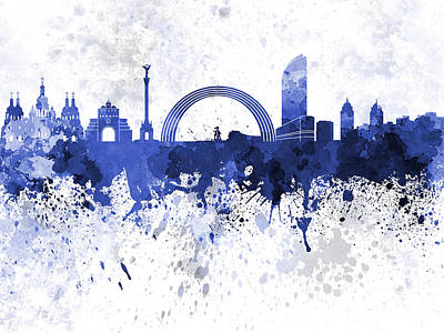 Kiev Skyline In Blue Watercolor On White Background Art Print by Pablo Romero