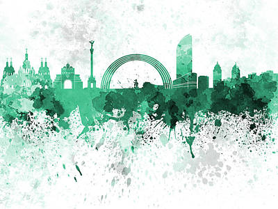 Kiev Skyline In Green Watercolor On White Background Art Print by Pablo Romero