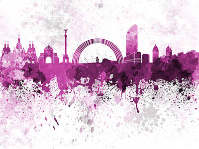 Kiev Skyline In Pink Watercolor On White Background Art Print by Pablo Romero