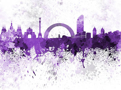 Kiev Skyline In Purple Watercolor On White Background Art Print by Pablo Romero