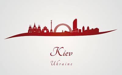 Kiev Wall Art - Digital Art - Kiev Skyline In Red by Pablo Romero