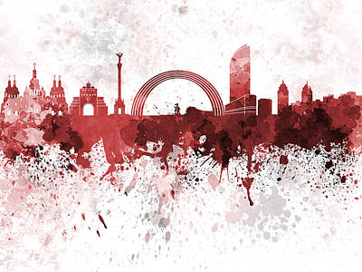 Kiev Skyline In Red Watercolor On White Background Art Print by Pablo Romero