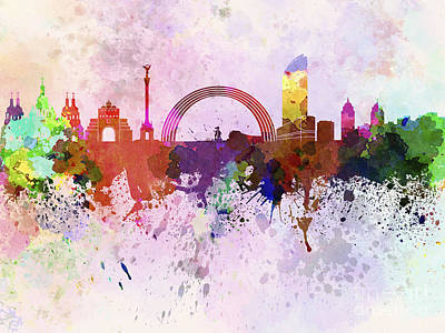 Kiev Skyline In Watercolor Background Art Print by Pablo Romero