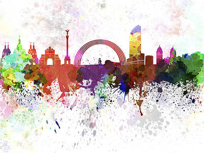 Kiev Skyline In Watercolor On White Background Art Print by Pablo Romero