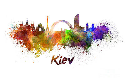 Kiev Skyline In Watercolor Art Print by Pablo Romero