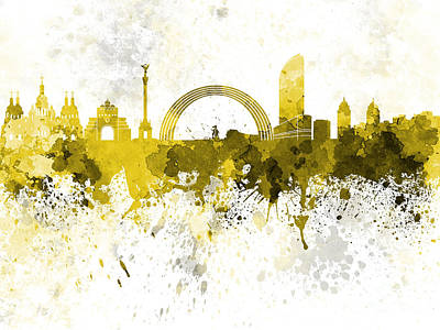 Kiev Skyline In Yellow Watercolor On White Background Art Print by Pablo Romero