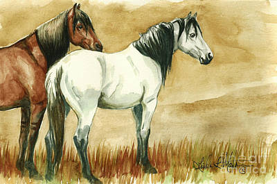 Painting - Kiger Mares by Linda L Martin