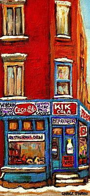 Painting - Kik Cola Pepsi  Cola Corner Depanneur Epicerie Marche Fruits Verdun Winter Montreal City  Scene by Carole Spandau