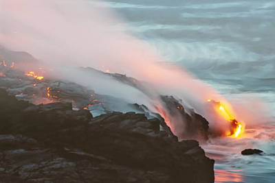 Photograph - Kilauea Lava Meets The Pacific by Mary Lee Dereske