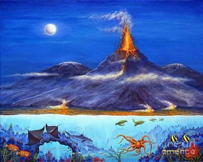 Hawaii Sea Turtle Painting - Kilauea Volcano Hawaii by Jerome Stumphauzer