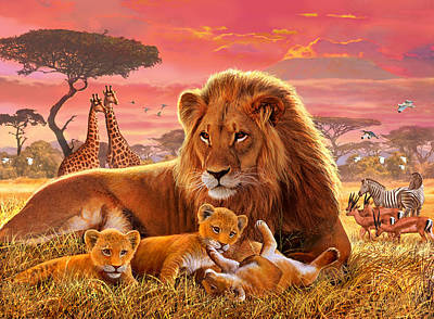 Stork Painting - Kilimanjaro Male Lion With Cubs by Steve Crisp