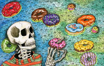 Donuts Drawing - killer Donuts by Julie McDoniel