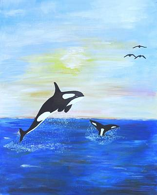 Killer Whales Leaping Art Print