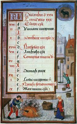 Aquarius Painting - Killing Swine, 1500 by Granger