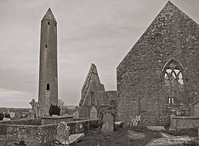 Photograph - Kilmacduagh Ruins- Antique Black And White by Shanna Hyatt