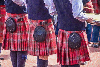 Digital Art - Kilted Drummers by Liz Leyden