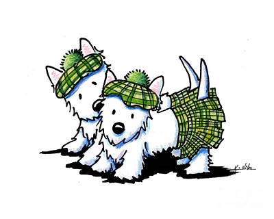 Tam Drawing - Kilted Westie Duo by Kim Niles