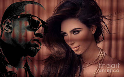 Kim Kardashian Mixed Media - Kim Kardashian Kanye West by Marvin Blaine