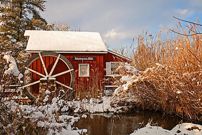Photograph - Kimberton Mill After Snow by Michael Porchik