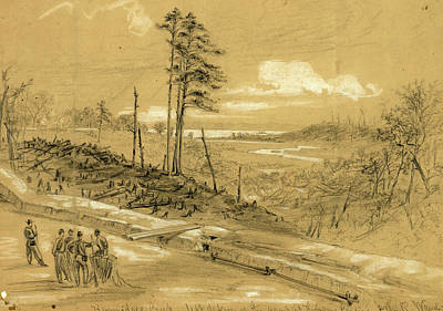 Chinese American Drawing - Kimmidges Creek, Left Defence Of The Camp At Harrisons by Quint Lox