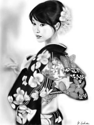 Geisha Digital Painting - Kimono Girl No.6 by Yoshiyuki Uchida