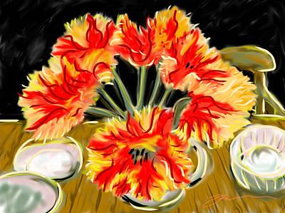 Painting - Kim's Parrot Tulips by Jean Pacheco Ravinski