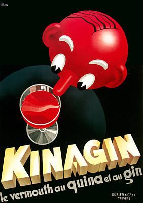 American Food Mixed Media - Kinagin Vermouth Advertising Poster     by Gary Perron
