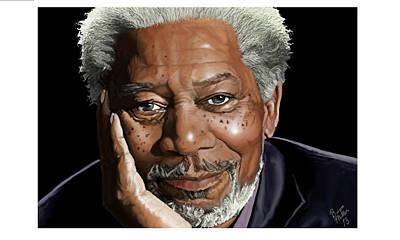 Kind Face Morgan Freeman Art Print by Brien Miller