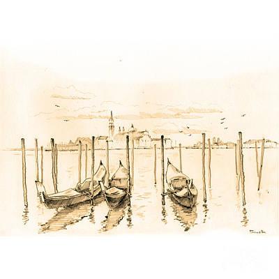 Cityscape.pencil Drawing - Kind On The San Giorgio by Viacheslav Rogin