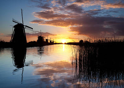 Kinderdijk Sunrise Art Print by Dave Bowman