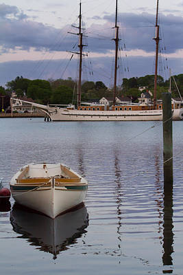 Photograph - Kindred Spirits - Boat Reflections On The Mystic River by Kirkodd Photography Of New England