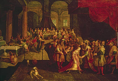 Bible Photograph - King Ahasuerus Crowns Esther Oil On Canvas by Frans II the Younger Francken