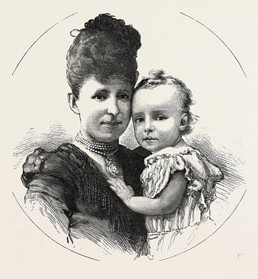Christina Drawing - King Alphonso Of Spain And His Mother Christina by Spanish School