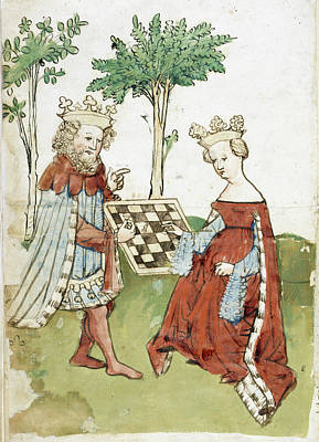 King And Queen Playing Chess Art Print by British Library