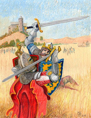 Knights Castle Drawing - King Arthur Challenges Sir Lance-a-lot by Todd Hatchett