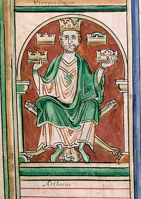 King Arthur Seated Print by British Library