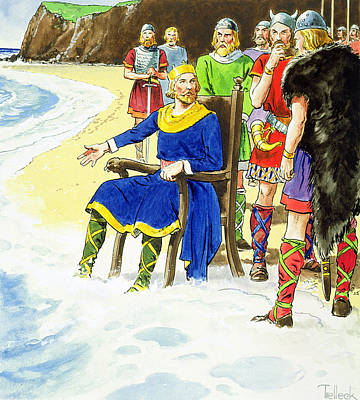 Seashore Drawing - King Canute From Peeps Into The Past by Trelleek