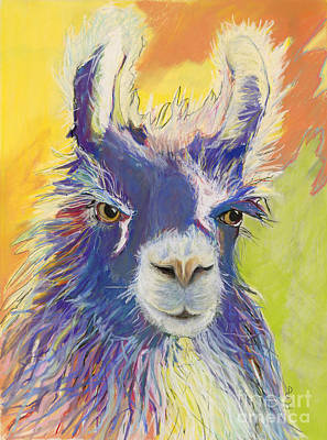 Llama Painting - King Charles by Pat Saunders-White