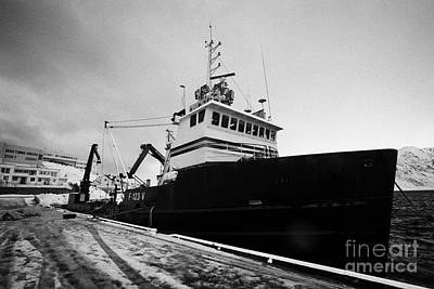 king crab fishing boat Honningsvag harbour finnmark norway europe Art Print by Joe Fox