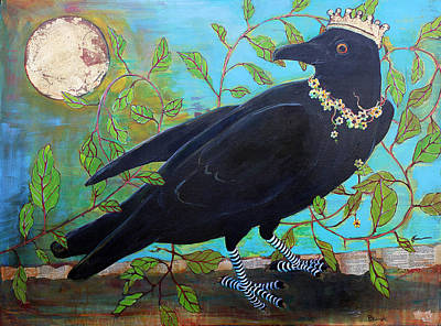 Blackbird Wall Art - Painting - King Crow by Blenda Studio